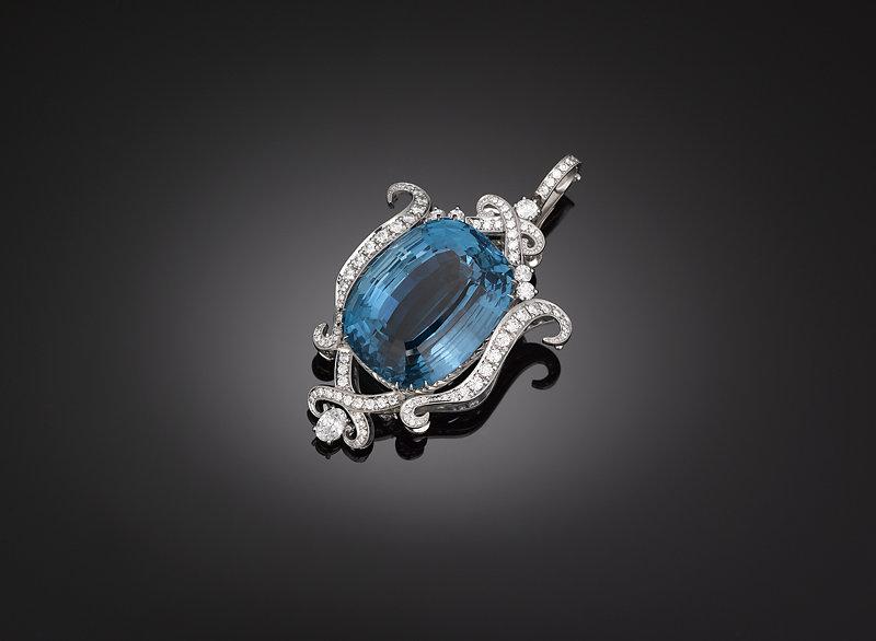 Aquamarine pendant, collection of M.S. Rau Antiques